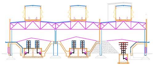 Прогрев в бункерах больших стационарных бетонных заводов